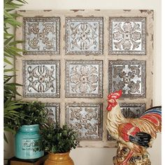 Rustic and beautiful, the DecMode Metal & Wood Wall Sculpture - Copper & White brings distressed vintage style to your farmhouse decor. Metal Wall Panel, Wood Panel Walls, Metal Walls, Metal Wall Art, Panel Art, Iron Wall Decor, Wall Art Decor, Room Decor, Metallic Wall Tiles