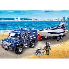 Juguete COCHE POLICIA CON LANCHA de Playmobil Precio 30,83€  en IguMagazine #juguetesbaratos