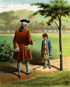 George Washington as a Boy | Illustration of George Washington as a Boy After Chopping Down the ...