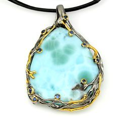 LARIMAR & SAPPHIRE (NATURAL) 2-TONE BLACK RHODIUM PLATED & 14K YELLOW GOLD PLATED 925 SILVER NECKLACE