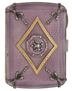 Antique silver, gold, enamel and diamond cigarette case, by Fabergé. #fabergé #faberge