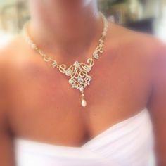 Or, collier, bijoux de mariée SET, ensemble de collier de mariée perle, boucles d'oreilles or chandelier, ensemble collier Swarovski, bijoux Art Déco de mariage
