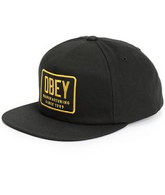 Get your hat game on point with a clean black and yellow Obey Manufacturing  logo patch 312658497daf