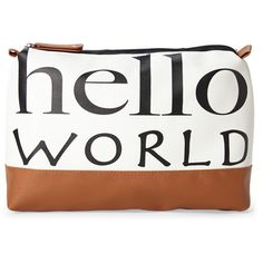 Stella & Max Hello World Cosmetic Bag (€13) ❤ liked on Polyvore featuring beauty products, beauty accessories, bags & cases, white, dop kit, travel bag, travel kit, make up purse and makeup purse