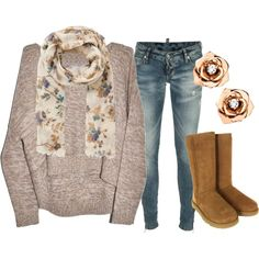 """Fall Neutrals"" by qtpiekelso on Polyvore - I;m not sure about the grey pullover as it looks like the front is shorter than the back but I like the neutral colors"