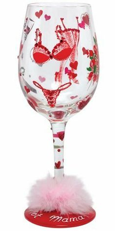 LolitaFOR LOVERS ONLY CHAMPAGNE FLUTE *NEW* VALENTINES CUTE HAND PAINTED GLAS