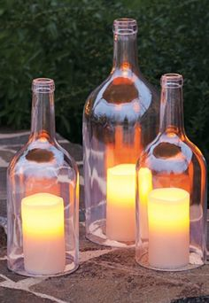 Do you want to enjoy a romantic dinner? You will never miss this wine bottle candles. The designs for these wine bottle candles are very simple. All you have to do is get a wine bottle cutter to take out the bottom of the wine bottle. Wine Bottle Crafts, Wine Bottles, Bottle Candles, Glass Bottles, Bottle Lights, Empty Bottles, Wine Glass, Glass Candle, Bottle Art