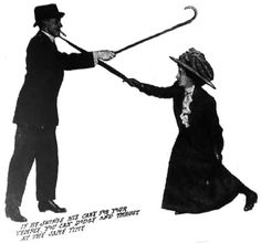 Self-defense for women: Umbrella defense against cane, by the Marquis of Queensberry