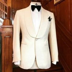 Off-White dinner jackets with black trouser combination have been our most popular choice for wedding attire this season. This jacket has wide shawl lapel. Wedding Suits, Wedding Attire, Wedding Dress, Wedding Tuxedos, Wedding Dinner, Wedding Veil, Wedding Ceremony, Groom Tuxedo, Tuxedo For Men