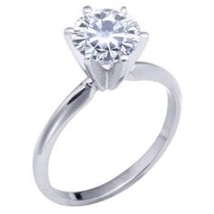 Brilliant! 18k White-gold 9.50mm (2.75CT Actual Weight, 3.10CT Diamond Equivalent Weight) Moissanite Solitaire 6-Prong Engagement Ring by Vicky K Designs - 8.0