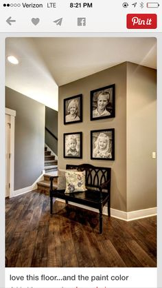 Wall color, floor, pictures and bench seat. Love this look for our second living room! love the wall color Interior Photo, Interior Design, Home And Deco, My New Room, Home Fashion, Wall Colors, Rustic Paint Colors, Wood Floor Colors, Paint Colours