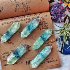 Double Terminated Fluorite Wands💚✨ just added online! *:・✧Green Fluorite adds growth & nature energies to the properties of Fluorite. It clears negative energy from any environment & brings cleansing,. Crystal Magic, Crystal Grid, Crystal Healing, Crystals And Gemstones, Stones And Crystals, Blue Crystals, Gem Stones, Rocks And Gems, Rocks And Minerals
