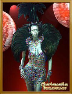 CHARISMATICO BLACK Drag SAMBA RIO CARNIVAL Feather Headdress BRA Costume set in Jewelry & Watches, Fashion Jewelry, Necklaces & Pendants   eBay