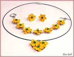 Yellow flowers - quilling set by Elven Quill (necklace, bracelet, earrings) www.facebook.com/elven.quill