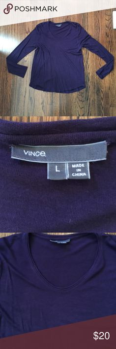 Vince eggplant shirt with laser cut edging size L Vince eggplant shirt with laser cut edging size L. Excellent condition. This is a cotton blend. Vince Tops Tees - Long Sleeve