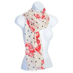 Lobster Print Polka Dot Cotton Scarf