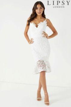 Lipsy Scallop Lace Flute Hem Midi Dress, £72