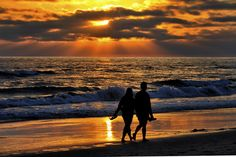 A Couple Walks on the Beach at Sunset in Oceanside - August 11, 2013 by Rich Cruse on 500px