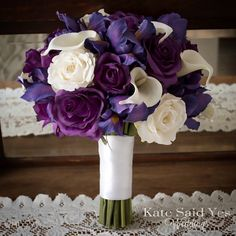 Happy Friday friends! A peek at this purple rose iris and calla lily bouquet on our desk today! By Kate Said Yes Weddings.    #wedding #weddings #weddingideas #weddingbouquet #weddingflowers #weddingplanning #etsyweddingteam #proguidevendor #theweddingpages #theperfectpalette #purplewedding #bouquet #bride #bridetobe #bridalbouquet #silkbouquet #silkflowers #love #springwedding
