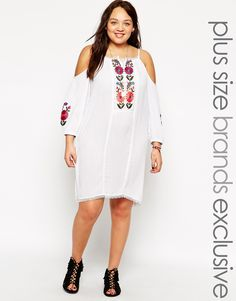 Asos Curve at Asos Alice & You Embroidered Cold Shoulder Swing Dress