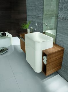 Astounding 8 Minimalist Bathroom Sink Design Ideas For Your Bathroom Decoration Home interior design must be arranged carefully to make it look harmonious and more beautiful. One of the interior elements that deserve attention is . Wall Hung Bathroom Vanities, Bathroom Sink Design, Ideal Bathrooms, Small Bathroom Vanities, Beautiful Bathrooms, Bathroom Ideas, Bathroom Interior, Loft Bathroom, Narrow Bathroom