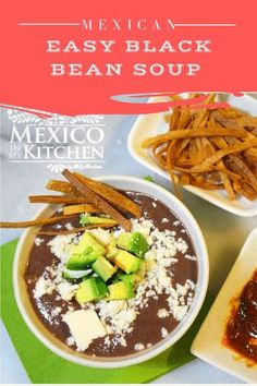 This recipe is for a rich, comforting black bean soup (sopa de frijol negro). This soup is healthy, wholesome, and super easy to make for a healthy, satisfying meal. Mexican Food Recipes, Vegan Recipes, Ethnic Recipes, Easy Black Bean Soup, Traditional Mexican Food, Frijoles, Vegetarian Options, Kitchen Recipes, Breakfast Recipes