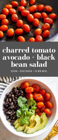 Flavorful and easy-to-make black bean salad made with sliced avocado, sautéed black beans, and charred tomatoes. A veggie bowl ready in 20 minutes! Fresh Salad Recipes, Raw Food Recipes, Vegetarian Recipes, Dinner Recipes, Healthy Recipes, Meal Recipes, Mexican Recipes, Delicious Recipes, Quinoa