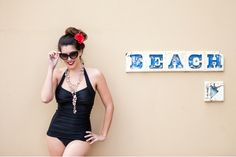 Retro Styled Full Costume, double layered front to add further tummy control  by BLU=BLU SWIMWEAR