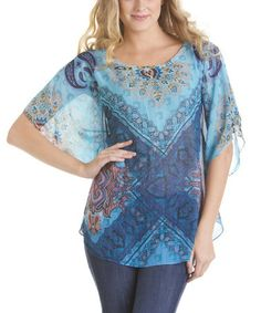 Look at this #zulilyfind! Turquoise Paisley Cape-Sleeve Top by Talïa #zulilyfinds