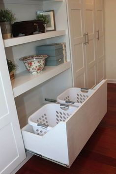 At first mention, you might not think laundry baskets are a bedroom luxury you should add to your wish list, but these roll-away versions will keep your clutter under control and let you stuff dirty clothes sky-high, yet out of sight. See more at Meg & the Martin Men »