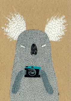 Hi, Im Diana, the Koala. I like taking pictures with my plastic lomo camera. What a coincident! It is also called Diana! ▲ A print of original Paper Illustration, Illustrations, Lomo Camera, Camera Cards, Cool Backgrounds, Aboriginal Art, Soft Sculpture, Taking Pictures, Textured Background
