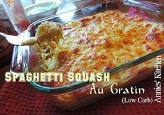 Spaghetti Squash Au Gratin Tastes like a Potato Casserole without all the carbs! 1 medium spaghetti squash 3 tablespoons butter 1 small yellow onion, very Low Carb Recipes, Cooking Recipes, Healthy Recipes, Yummy Recipes, Free Recipes, Weeknight Recipes, Atkins Recipes, Bariatric Recipes, Clean Recipes