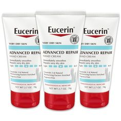 Eucerin Advanced Repair Hand Cream - Fragrance Free, Hand Lotion for Very Dry Skin - 2.7 oz Tube (Pack of 3) ** More info could be found at the image url. (As an Amazon Associate I earn from qualifying purchases)