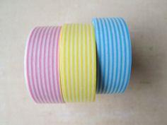 Washi Tape  Three Rolls  Multicolor Stripe Mix  by HazalsBazaar, $7.50