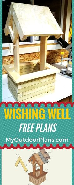 How to build a wishing well planter - Free plans for you to build a mini wishing well planter! #diy #planter myoutdoorplans.com