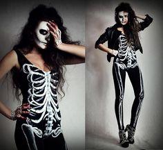 Handmade Skeleton Bodysuit, Handmade Skeleton Leggings, Handmade Skeleton 'Ring Bracelet', Diy Studded Leather Jacket, Romwe Shoes