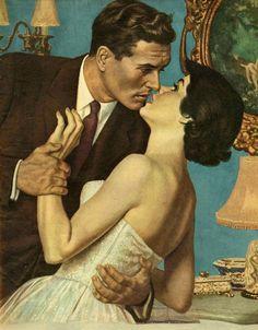 Vintage graphic Fridge Magnet Couple about to Kiss love romance kissing brown suit white gown Love Romance Kiss, Romance Art, Couple Romance, Vintage Romance, Couple Art, Vintage Love, Vintage Art, Wedding Vintage, Paar Illustration
