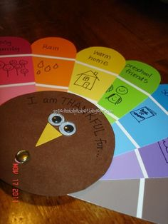 What are you thankful for? Cute turkey with paint chips craft lets kids write and draw what they are grateful for. (Repinned by Super Simple Songs.) #Thanksgiving #kidscrafts