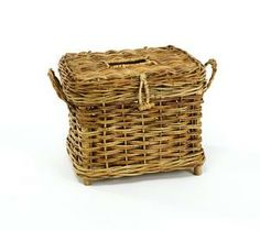 "Cottage Fisherman's Basket - Reproduction of an old fishing creel, this basket makes a great cache for anything that needs to be contained; or to fill that niche in a book shelf.Made of rattan; 10.5""L x 9""W x 9""H  $69.95 TO ORDER: greenlifestylebiz@gmail.com - Greenlifestylebiz on Facebook/Suzi M Green Interior Decorator Mpls MN on Pinterest"