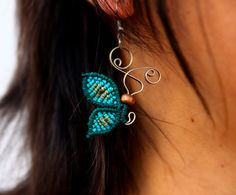 Macrame and wire dangle earrings. Colorful butterfly earrings. Artistic jewelry…
