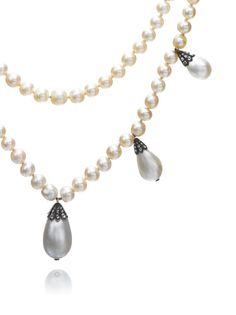 Magnificent Jewels | Sotheby's. Sotheby's is auctioning Queen Josephine's pearl necklace, a double strand of large natural pearls with pearl and diamond pendants. The necklace was probably given by Empress Joséphine to her daughter-in-law Augusta, Duchess of Leuchtenberg, and then to Augusta's daughter, Queen Josephine. It eventually passed out of the main royal line and was sold. It will now be sold again.