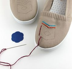 embroider canvas shoes!