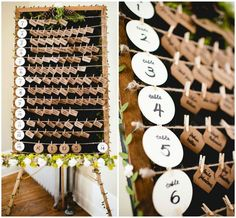 Rustic wedding escort card display: