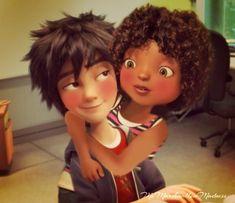 tip and hiro Cute Cartoon Characters, Couple Cartoon, Black Love Art, Black Girl Art, Mixed Couples, Couples In Love, Couple Aesthetic, Aesthetic Anime, Interracial Art