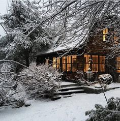 """simpleguyinacomplexworld: """" offthecuffs: """" Frank Muytjens' home Hillsdale, New York """" """" Beautiful Homes, Beautiful Places, Winter Cabin, Snow Cabin, Winter Snow, Winter Scenery, Cabins And Cottages, Cabin Homes, Cabins In The Woods"""