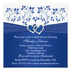 Royal Blue, White Floral Hearts Bridal Shower Custom Invites Yes I can say you are on right site we just collected best shopping store that haveDiscount Dealslowest price Fast Shipping and save your money Now!!...