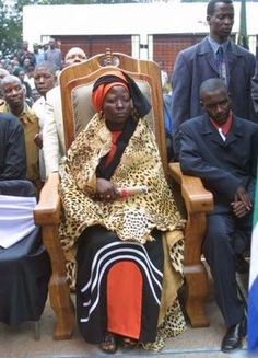 Princess Ga-Kgosigadi Makobo, 25, was crowned as Rain Queen and enthroned in her royal palace east of Polokwane in the Ga-Modjadji district. In accordance with tradition, it rained at the inauguration of Queen Modjadji VI, ruler of the Bolobedu people, and the only female monarchy in Africa. Pic: Sydney Seshibedi. 11/4/03. © ST.