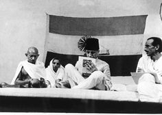 Gandhi at an Indian Congress Committee meeting, with Maulana Azad and Acharya Kripalani in London on July 15, 1948.