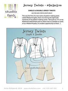 All the studio detail as PDF for #JerseyTwist Patterns 1  My knit block: http://www.studiofaro.com/my-blocks-pdf #well-suitedblog