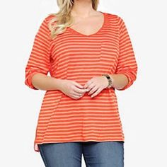 Torrid Orange High Low Chiffon Back Top Good condition. Has been worn a few times but not worn out, no holes, rips, tears. Sheer back. 3/4 length sleeves. Ready to ship. Size 4 torrid Tops Blouses